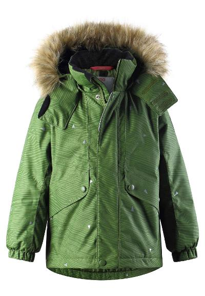 Kids' reflective winter jacket Skaidi Khaki green