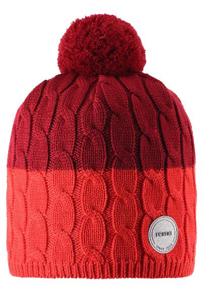 Kids' wool beanie Nyksund Tomato red