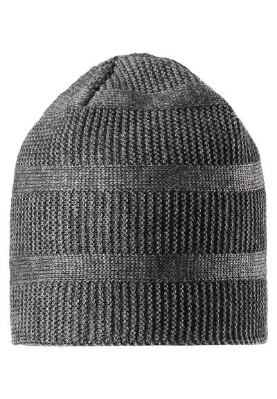 Kinder Strickmütze Pettu Dark melange grey