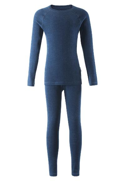 Kids' wool base-layer set Kinsei Navy