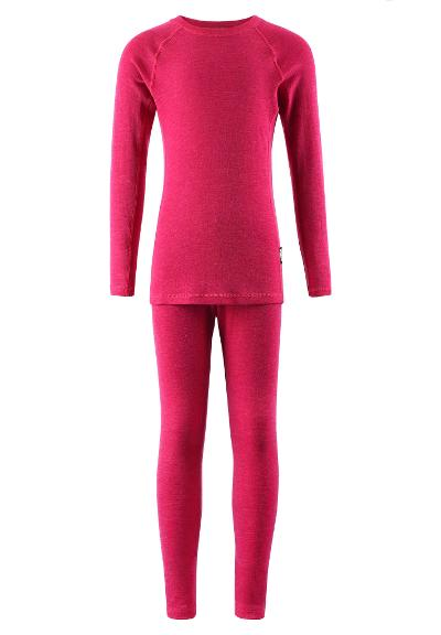 Kids' wool base-layer set Kinsei Raspberry pink