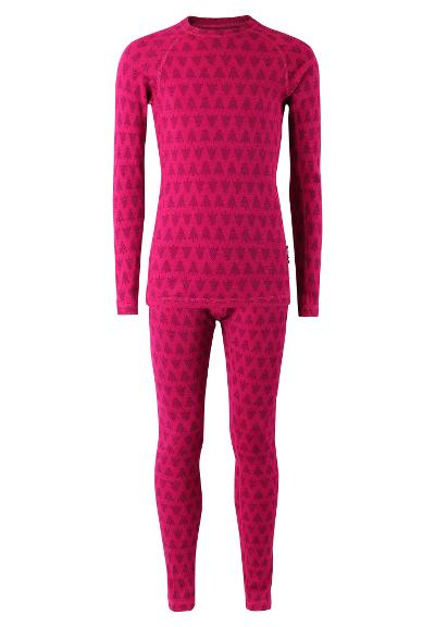 Kids' wool base-layer set Taival Cranberry pink
