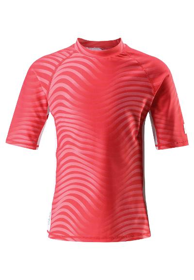 Kids' short-sleeved swim top Fiji Bright red