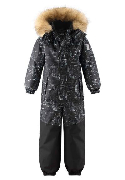 Kids' reflective winter snowsuit Bergen Black