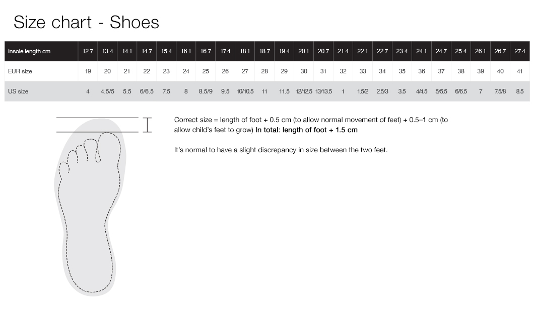 Size chart - Shoes